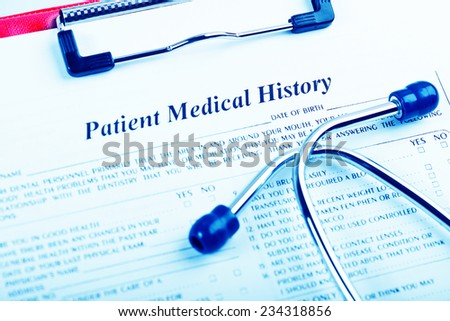 medical history with stethoscope  - stock photo