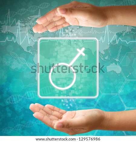 Medical icon Female in hand - stock photo