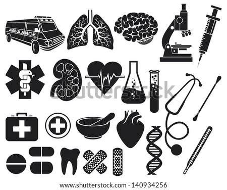 medical icon set (kidney, human lungs, pharmacy snake symbol, first aid medical sign, pills illustration, tooth, stethoscope, brain, microscope, syringe, DNA strand, heart, first aid, ambulance van) - stock photo