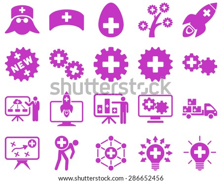 Medical icon set. Style: icons drawn with violet color on a white background.