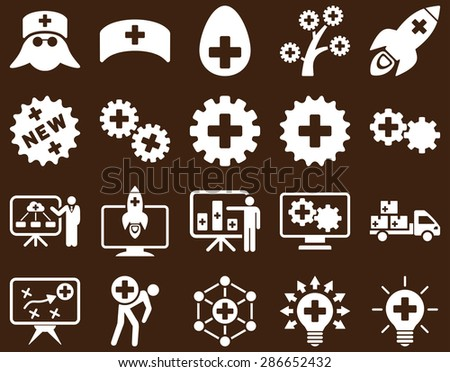 Medical icon set. Style: icons drawn with white color on a brown background.