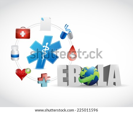 medical icons and ebola sign illustration design over a white background - stock photo