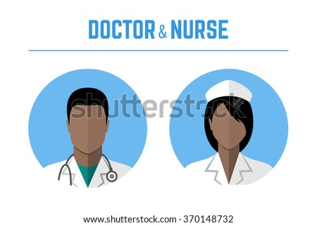 Medical icons. Doctor and nurse of african american ethnic people avatars. Flat style design - stock photo