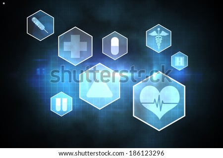 Medical icons in hexagons interface menu on blue and black background - stock photo