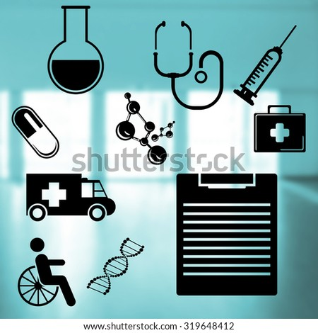 Medical icons set  on abstract blue background