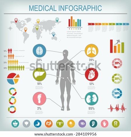 Medical infographics elements. Human body with internal organs. Raster illustration. - stock photo