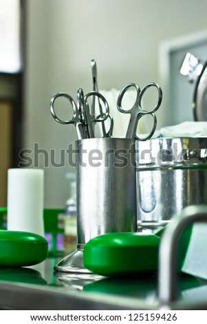 Medical instruments for ENT doctor - stock photo