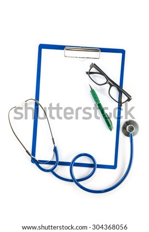 Medical insurance and healthcare concept,  clipboard glasses and pen  blank - stock photo