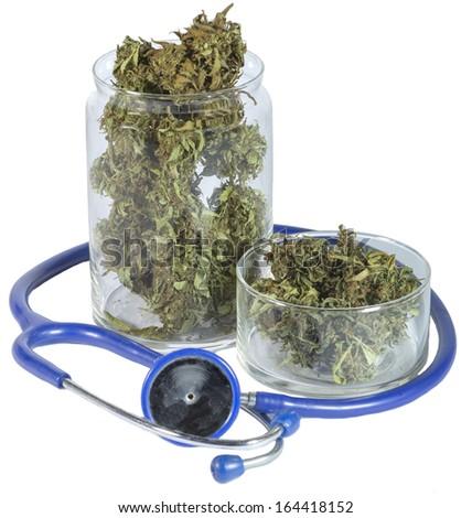 Medical jar with marijuana - stock photo