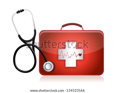 medical kit with a Stethoscope illustration design over white