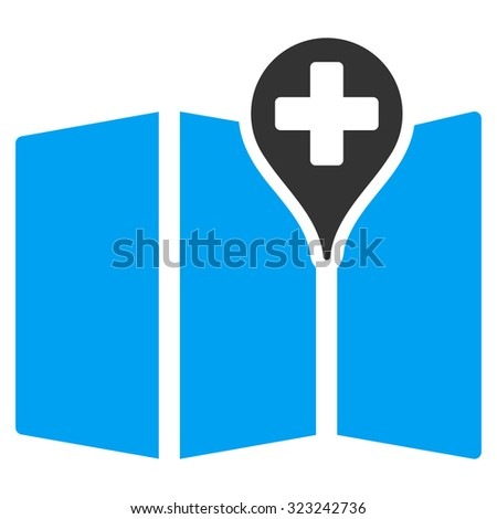 Medical Map glyph icon. Style is bicolor flat symbol, blue and gray colors, rounded angles, white background.