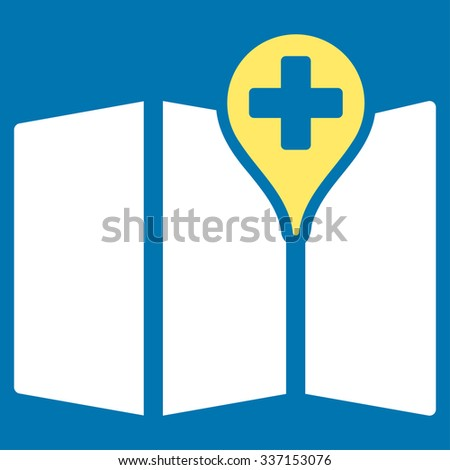 Medical Map glyph icon. Style is bicolor flat symbol, yellow and white colors, rounded angles, blue background.