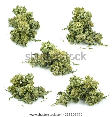 Medical marijuana isolated on white background. Therapeutic and medicinal cannabis buds set - stock photo