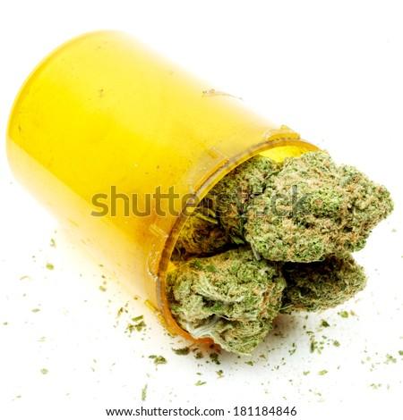 Medical Marijuana, White Background, Prescription Marijuana Legalization  - stock photo