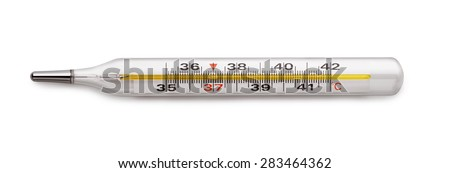 Medical mercury thermometer isolated on white - stock photo