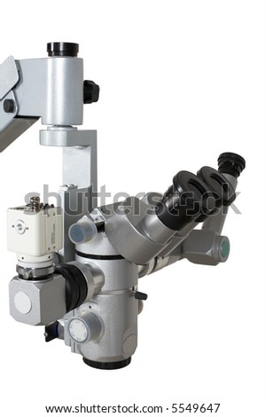 Medical microscope with the digital camera on a white background - stock photo