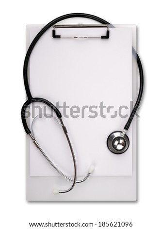 Medical notes on clipboard with stethoscope left blank for message - stock photo