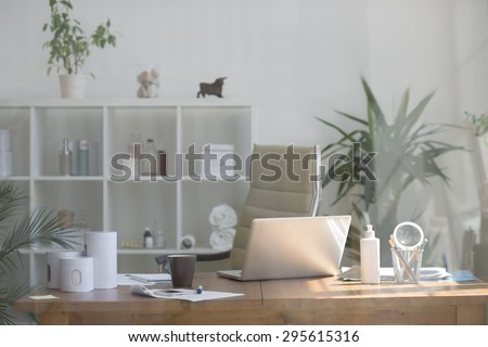 Medical office background, view through the glass - stock photo