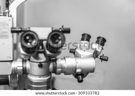Medical optometrist equipment used for eye exams - stock photo