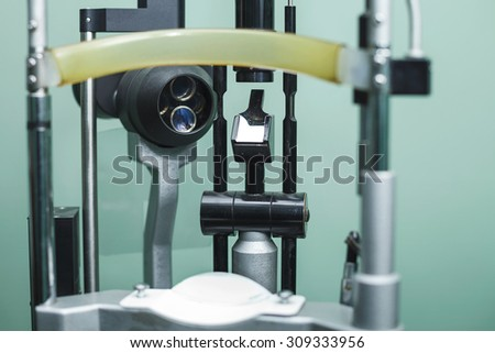 Medical optometrist equipment used for  eye exams - stock photo