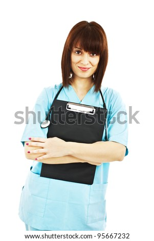 Medical person: Nurse / young doctor portrait. Confident young woman medical professional isolated on white background. - stock photo