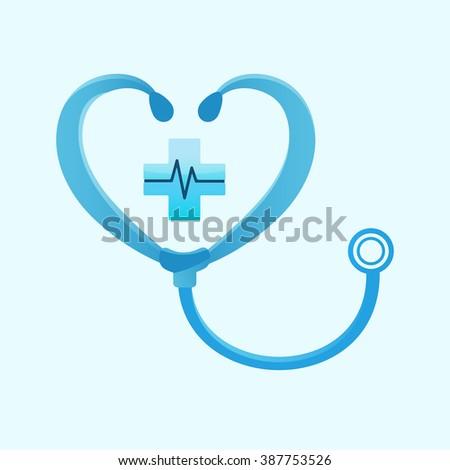 medical phonendoscope logo cross heart shape stock vector