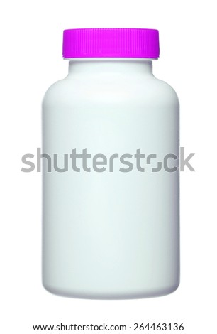 medical pill bottle with a blank label for copy space and the bottle is isolated on a white background. - stock photo
