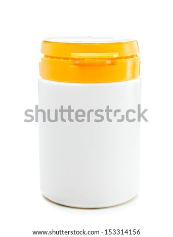 Medical pill bottle with  copy space isolated on a white background, close up. - stock photo