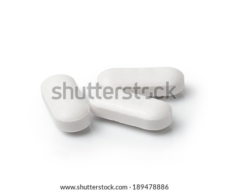 Medical pill tablet isolated on white background - stock photo