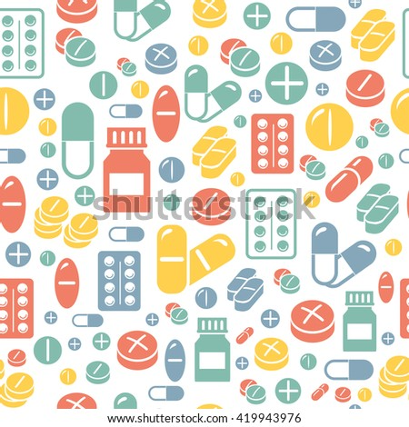 Medical pills and capsules seamless pattern.  - stock photo