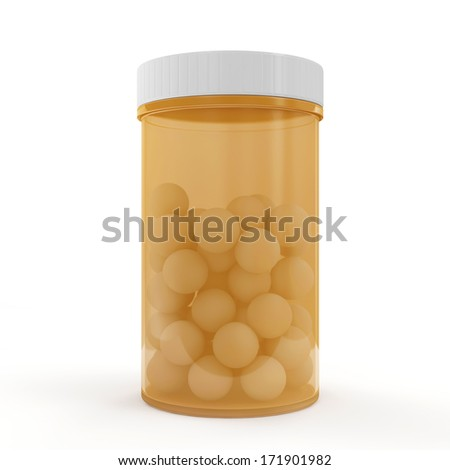 Medical Pills in Bottle isolated on white background