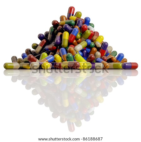 Medical pills, lots of medicine capsules of different colors on reflective surface isolated on white background, 3D. - stock photo