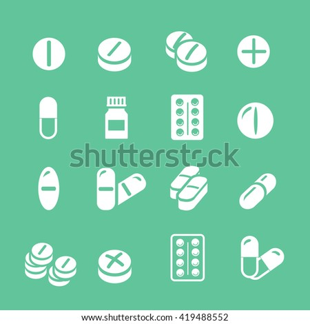 Medical pills white icons set, collection. - stock photo