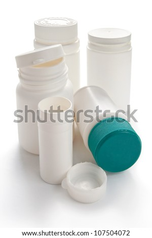 Medical plastic containers on the white background