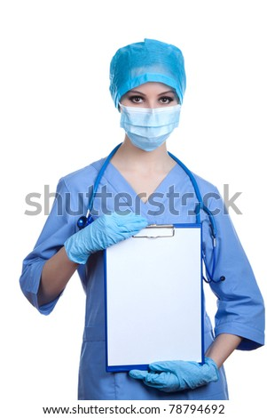 Medical professional person in blue gloves and mask with stethoscope: Nurse, doctor holding white board, signboard, showing an bill board, present copy space for text. Isolated over white background. - stock photo