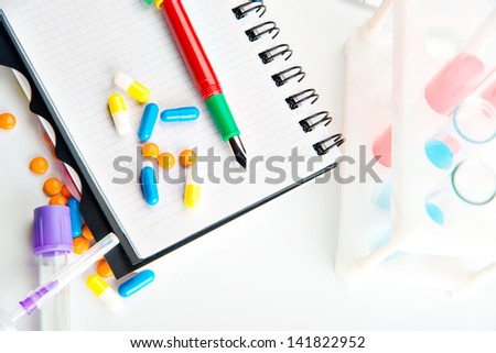 medical records, patient prescriptions,Doctor appoint prescription drugs to patients isolated on white