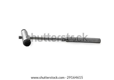 medical reflex hammer (isolated) - stock photo
