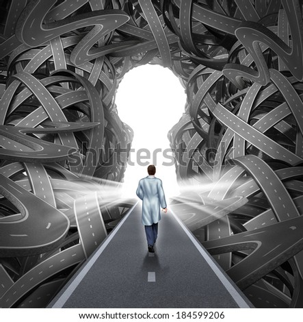 Medical research and development concept with a hospital doctor in a lab coat walking towards a group of tangled roads with a keyhole opening as a metaphor for success in medicine and health care. - stock photo