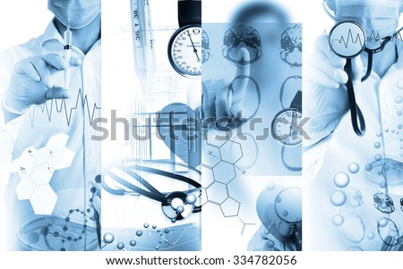 Medical services photo collage (monochrome photo collage) - stock photo