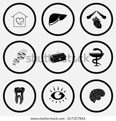 Medical set. Black and white set raster icons. - stock photo