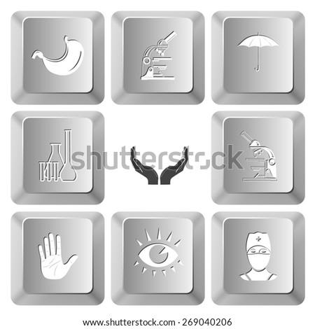 Medical set. Raster set computer keys. - stock photo