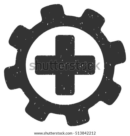 Medical Settings rubber seal stamp watermark. Icon glyph symbol with grunge design and dirty texture. Scratched gray ink sticker on a white background.