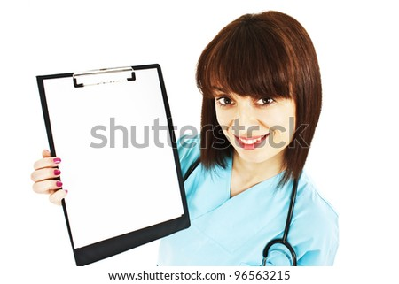 Medical sign. Young woman doctor / nurse showing empty blank clipboard sign with copy space for text. Isolated on white background - stock photo