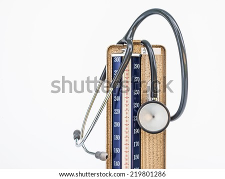Medical sphygmomanometer for blood pressure control and Stethoscope  isolated on white background.  - stock photo