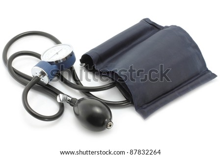 Medical sphygmomanometer on a white background - stock photo