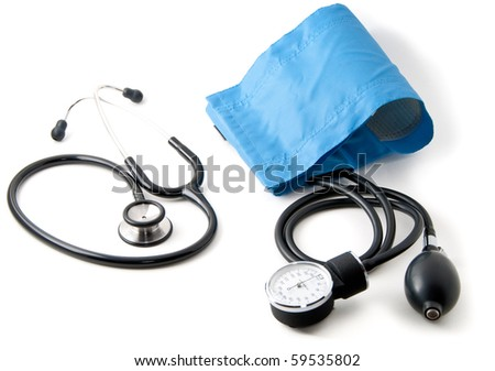 Medical stethoscope and blood pressure monitor isolated on white. Shallow depth of field. Focus on the center of the composition. - stock photo
