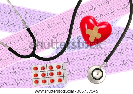 Medical stethoscope and Heart analysis, electrocardiogram graph (ECG) - stock photo