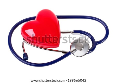 Medical stethoscope and red heart isolated on white - stock photo