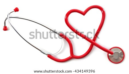 Medical stethoscope in a heart shape isolated on white - stock photo