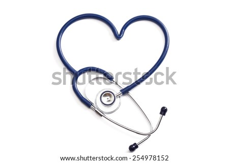 Medical stethoscope in the shape of a heart - stock photo